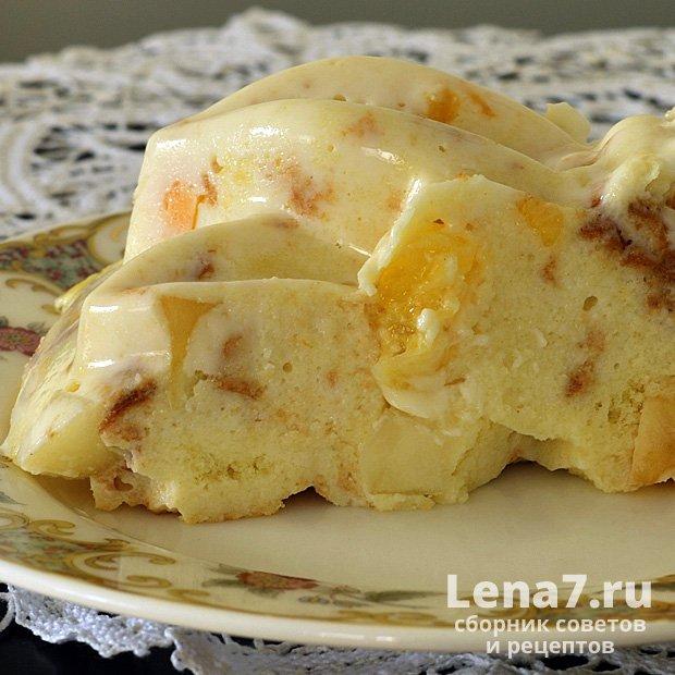 Бисквитный желатиновый торт с фруктами