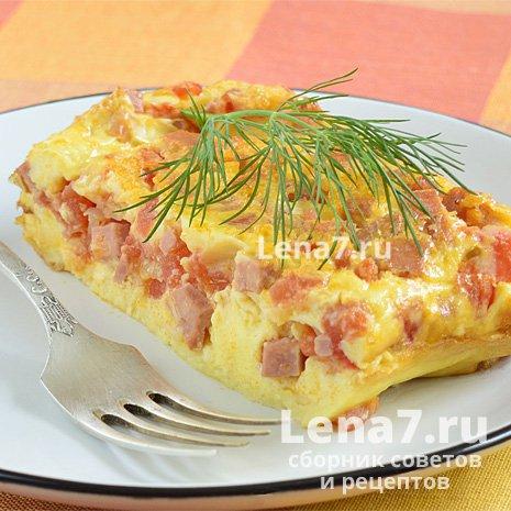 Омлет с колбасой и помидорами в духовке