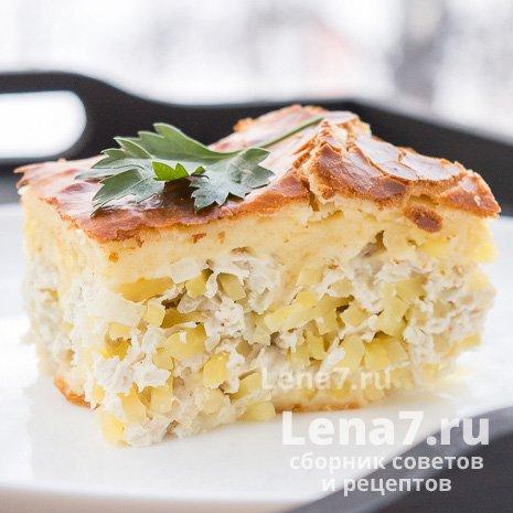 Пирог с куриным фаршем и картофелем