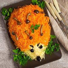 Салат «Ежик» с корейской морковью: рецепты