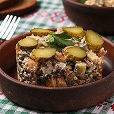Рецепты салата «Обжорка» с печенью