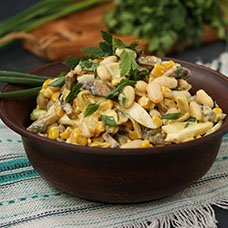 Салат с фасолью и грибами: рецепты