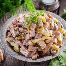 Лучшие рецепты салатов с говяжьим языком