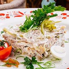 Рецепты салатов с языком и маринованными огурцами