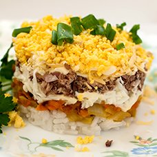 Салат с печенью трески и рисом: рецепты