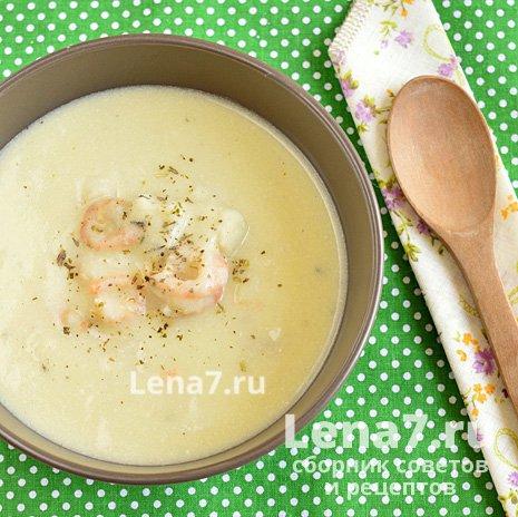 Суп с треской и креветками