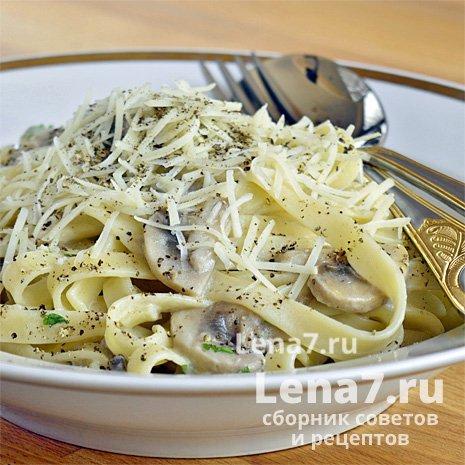 Макароны с грибами на сковороде рецепт пошагово 5